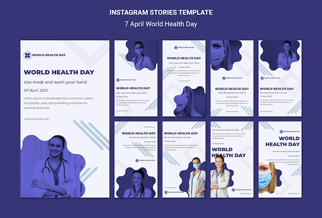 Histórias do instagram do dia mundial da saúde