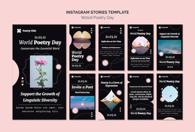 Histórias do instagram do evento do dia mundial da poesia