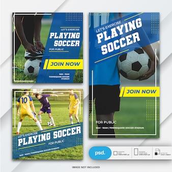 Histórias do instagram e banner modelo de esportes do pacote de postagem