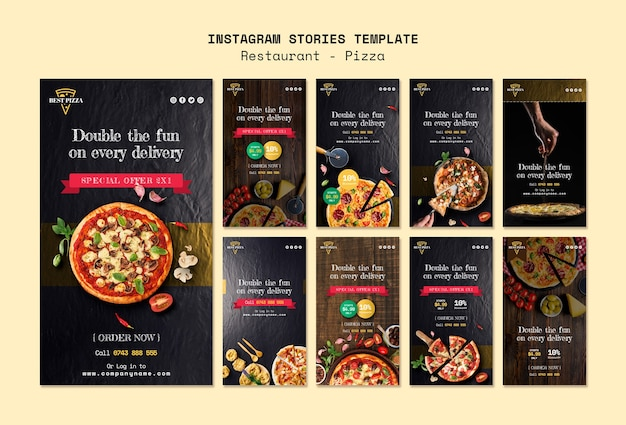 Histórias do instagram para pizzaria
