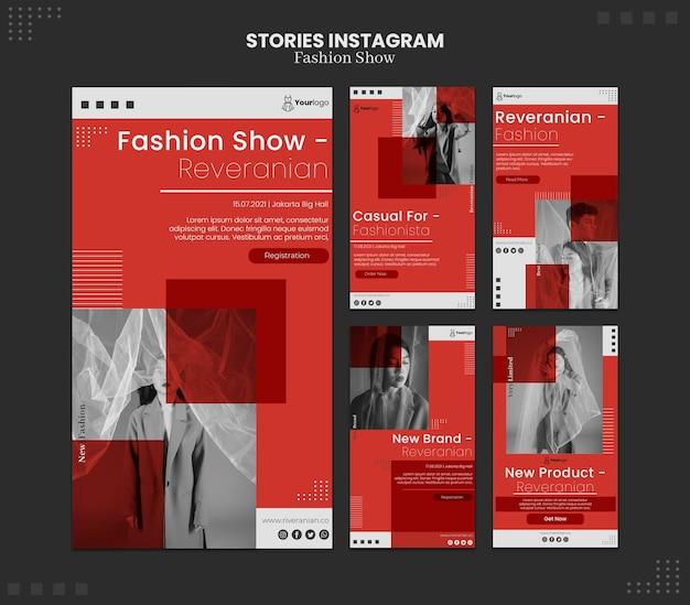 Histórias do instagram sobre desfiles de moda