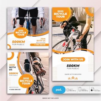 Histórias e banner do instagram modelo de bicicleta de pacote de postagem
