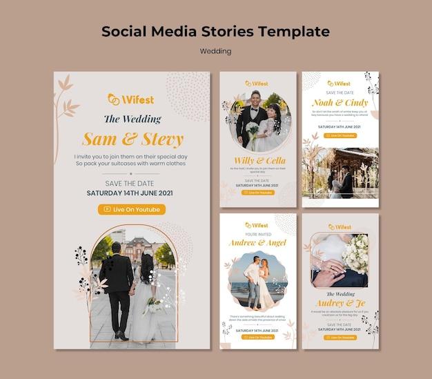 Histórias elegantes de casamento nas redes sociais