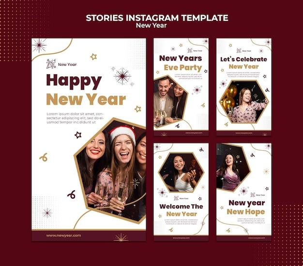 Histórias festivas de ano novo nas redes sociais