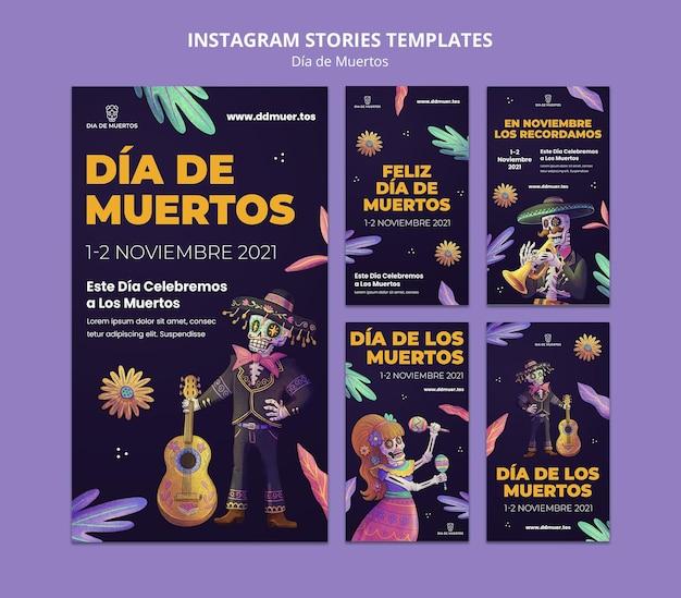 Histórias festivas de dia de muertos nas redes sociais