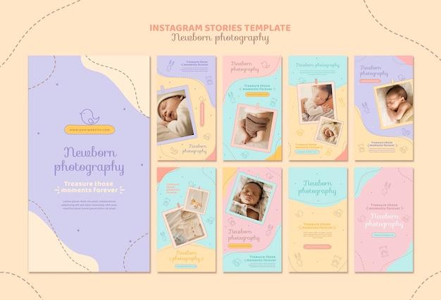 Histórias fofas do instagram de fotos de recém-nascidos