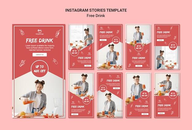 Histórias gratuitas do instagram de bebidas