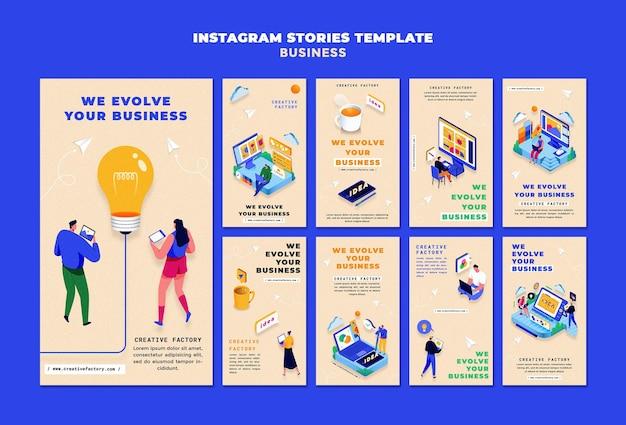 Histórias ilustradas de instagram de negócios