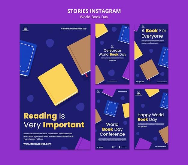 Histórias ilustradas de mídia social para o dia mundial do livro