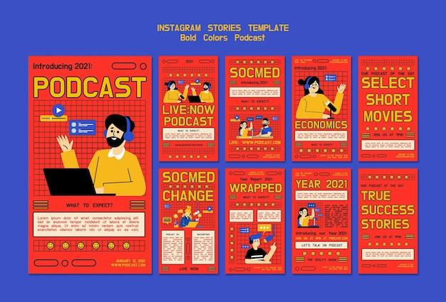 Histórias ilustradas de podcast nas redes sociais