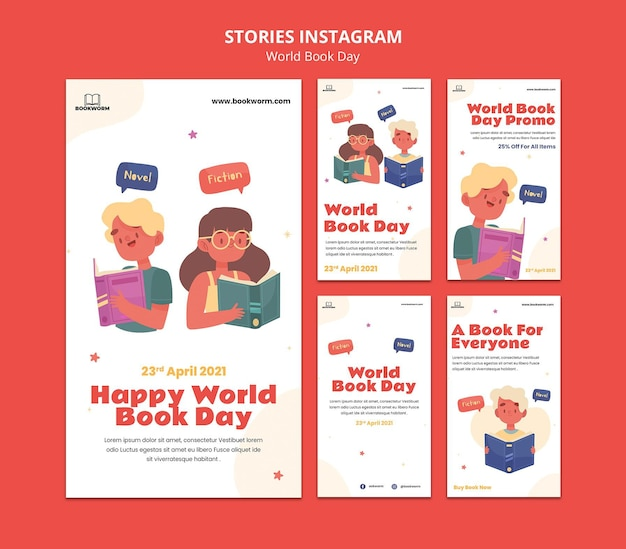 Histórias ilustradas do instagram do dia mundial do livro