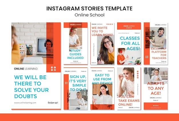 Histórias online do instagram da escola