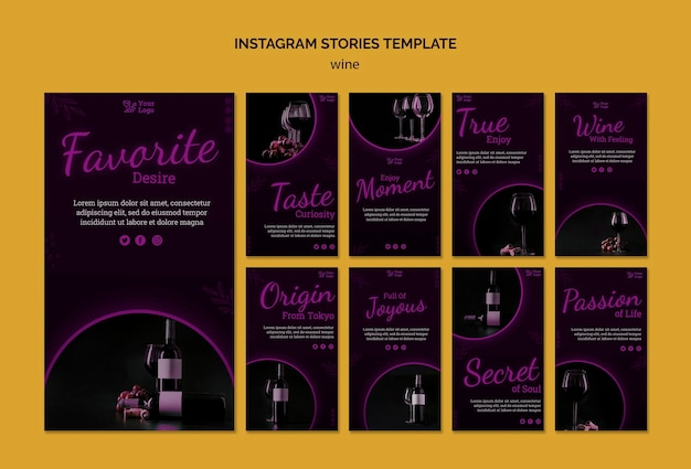 Histórias promocionais de vinho no instagram