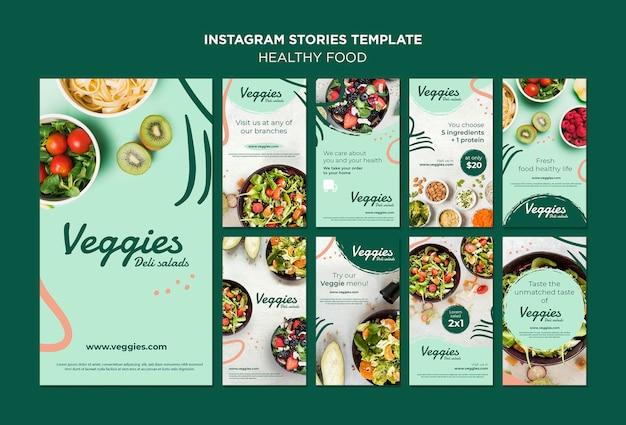 Histórias saudáveis do instagram de alimentos