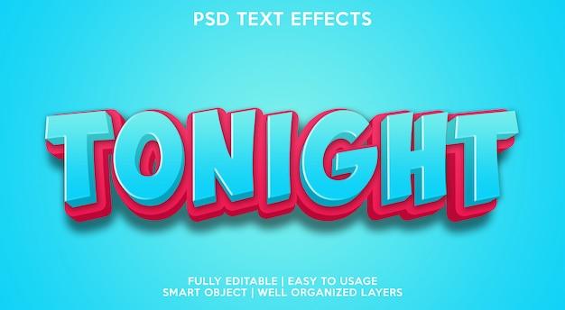 Hoje à noite modelo de efeitos de texto