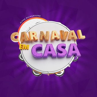 Home carnival 3d render isolado