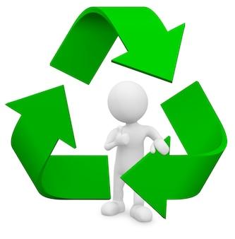 Homem 3d com símbolo de reciclagem