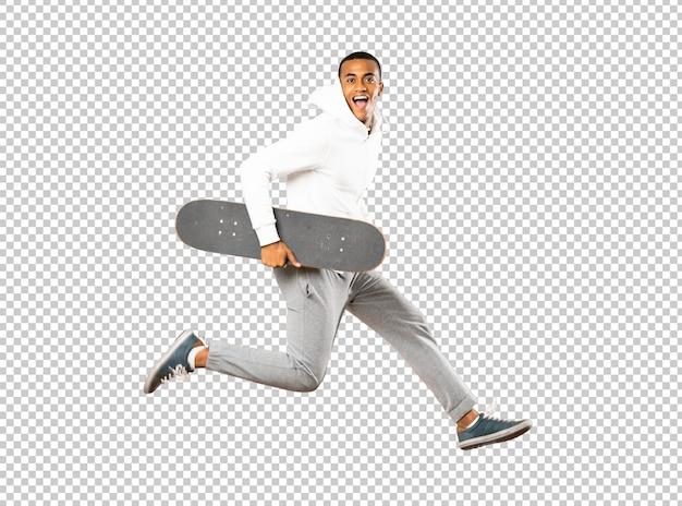 Homem afro-americano skatista