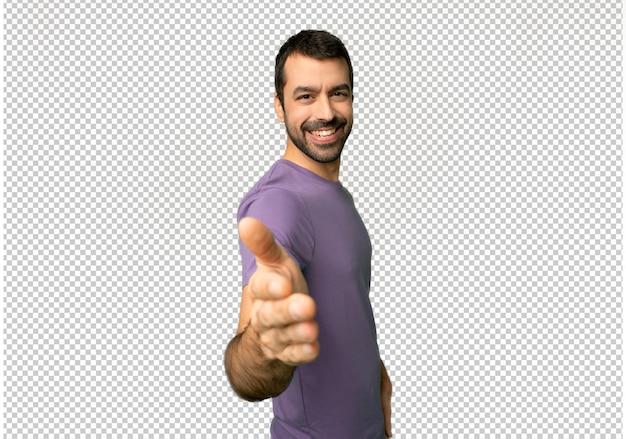 Homem bonito, apertando as mãos para fechar um bom negócio