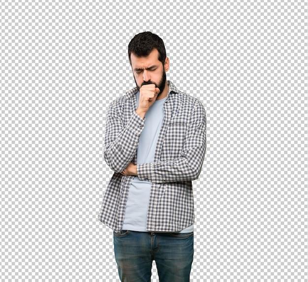 Homem bonito com barba está sofrendo com tosse e se sentindo mal