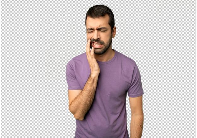 Homem bonito com dor de dente