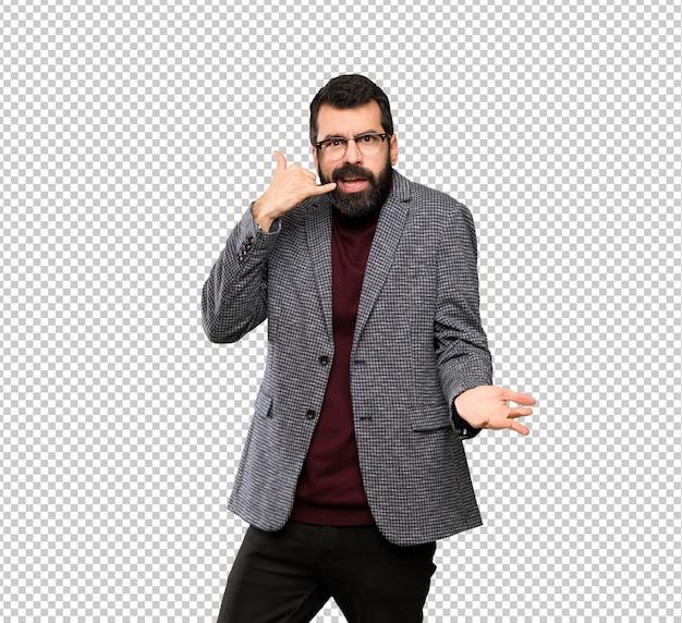 Homem bonito com óculos fazendo gesto de telefone e duvidando