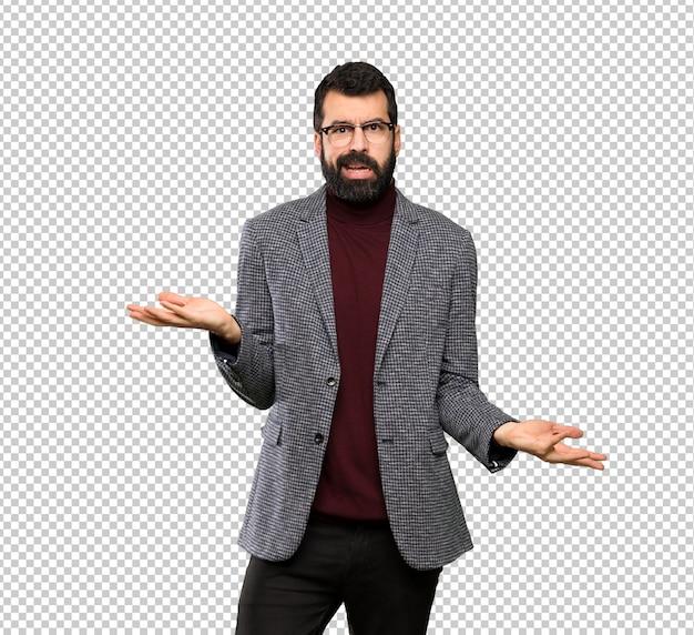 Homem bonito com óculos infeliz por não entender algo