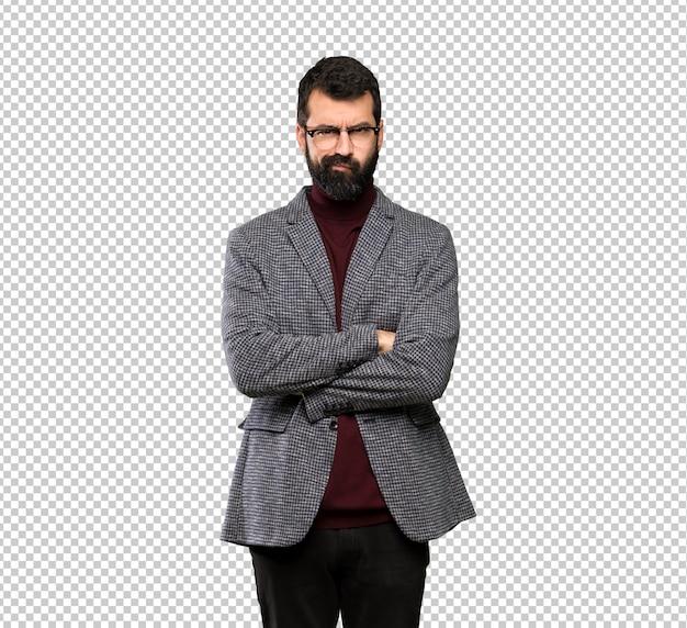 Homem bonito com óculos sentindo chateado