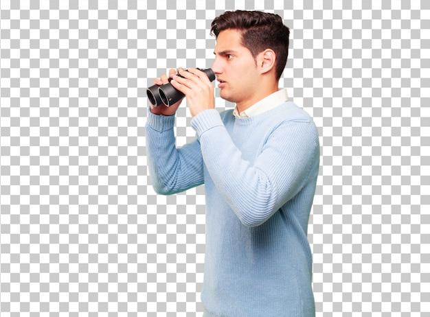 Homem bronzeado bonito jovem com binóculos
