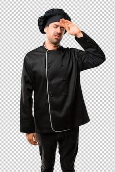 Homem chef, em, uniforme preto, com, cansado, e, expressão doente