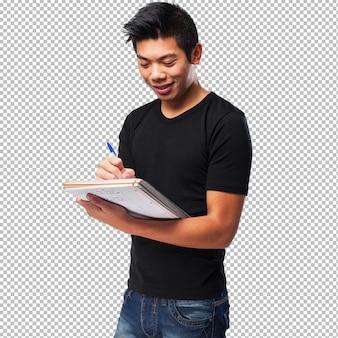 Homem chinês, com, um, caderno