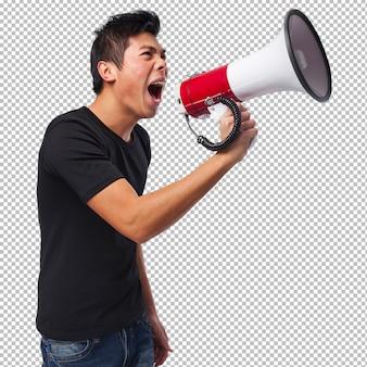 Homem chinês com um megafone