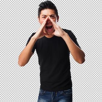 Homem chinês gritando