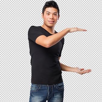 Homem chinês, medindo, algo