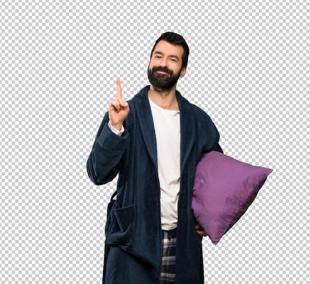 Homem, com, barba, em, pijamas, mostrando, e, levantamento, um, dedo, em, sinal, de, a, melhor