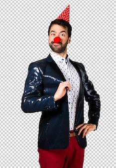 Homem, com, casaco, com, palhaço, nariz