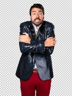 Homem, com, casaco, congelar