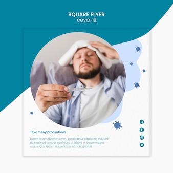 Homem com febre covid-19 panfleto quadrado