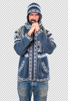 Homem, com, roupas inverno, luta