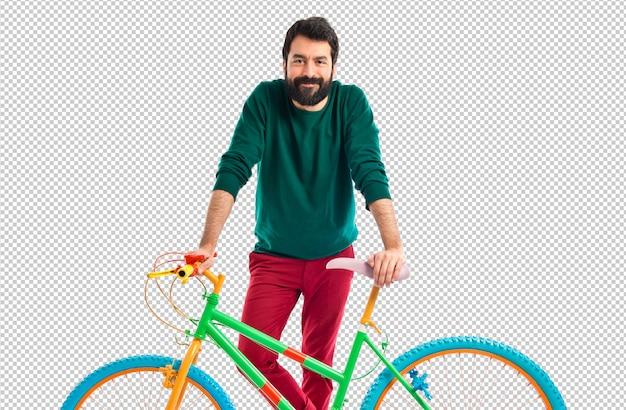 Homem, com, seu, coloridos, bicicleta