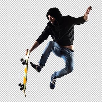 Homem, com, skateboard, pular