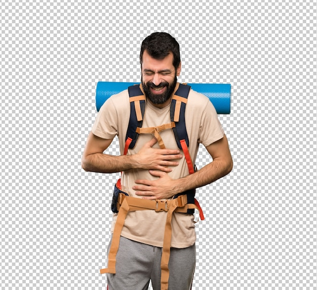 Homem de alpinista sorrindo muito