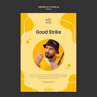 Homem de boa greve no cartaz de casaco de pesca amarelo