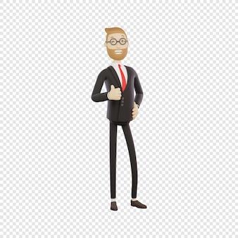 Homem de negócios 3d com óculos mostrando sinal de positivo bom trabalho bem feito personagem 3d isolado