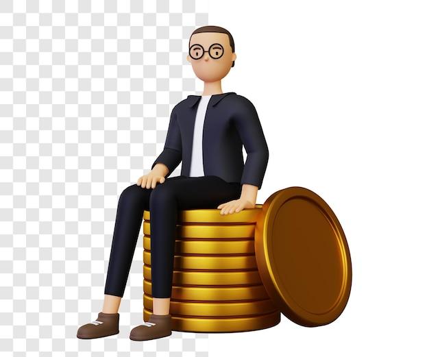 Homem de negócios 3d sentado sobre uma pilha de moedas