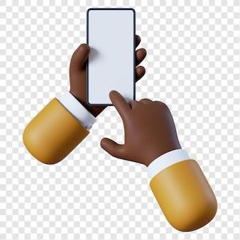 Homem de negócios afro-americano de desenho animado com smartphone