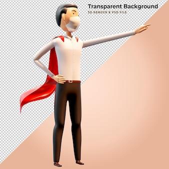 Homem de negócios de ilustração 3d em pé com capa vermelha