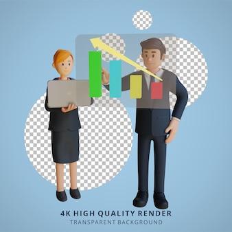 Homem de negócios e mulher apresentando um personagem gráfico ilustração de personagem 3d
