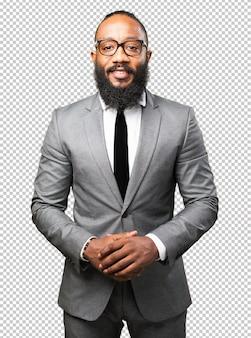 Homem de negócios preto sorrindo