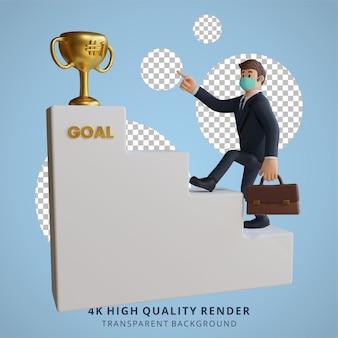 Homem de negócios usando uma máscara está subindo a escada do sucesso ilustração de personagem renderização em 3d